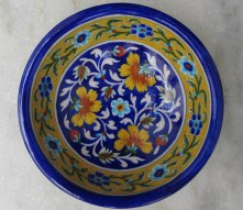 Painted bowl, Jaipur Blue Pottery.