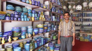 Shop and shop owner @Jaipur Blue Pottery and Marble Art Centre, Jaipur.