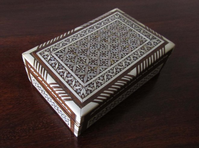 Box, wood intarsia with mother of pearl. MId 20th century, Egypt. Collection of Snorre Westgaard.