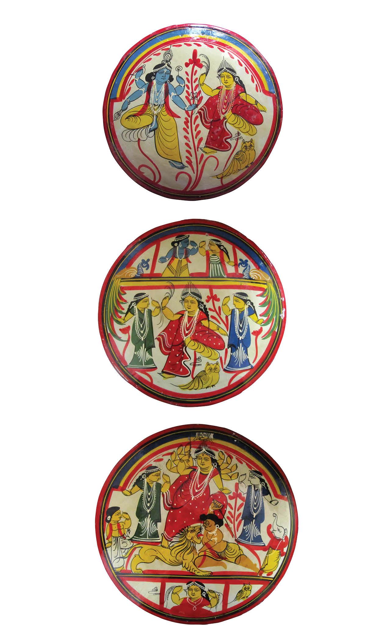 Lakshmi-Narayan Sara, Lakshmi Sara and Mahisasurmardini Sara, West Bengal, painted terracotta, Dia. 29 cm, Purchased near Kalighat Temple, Calcutta (2019).