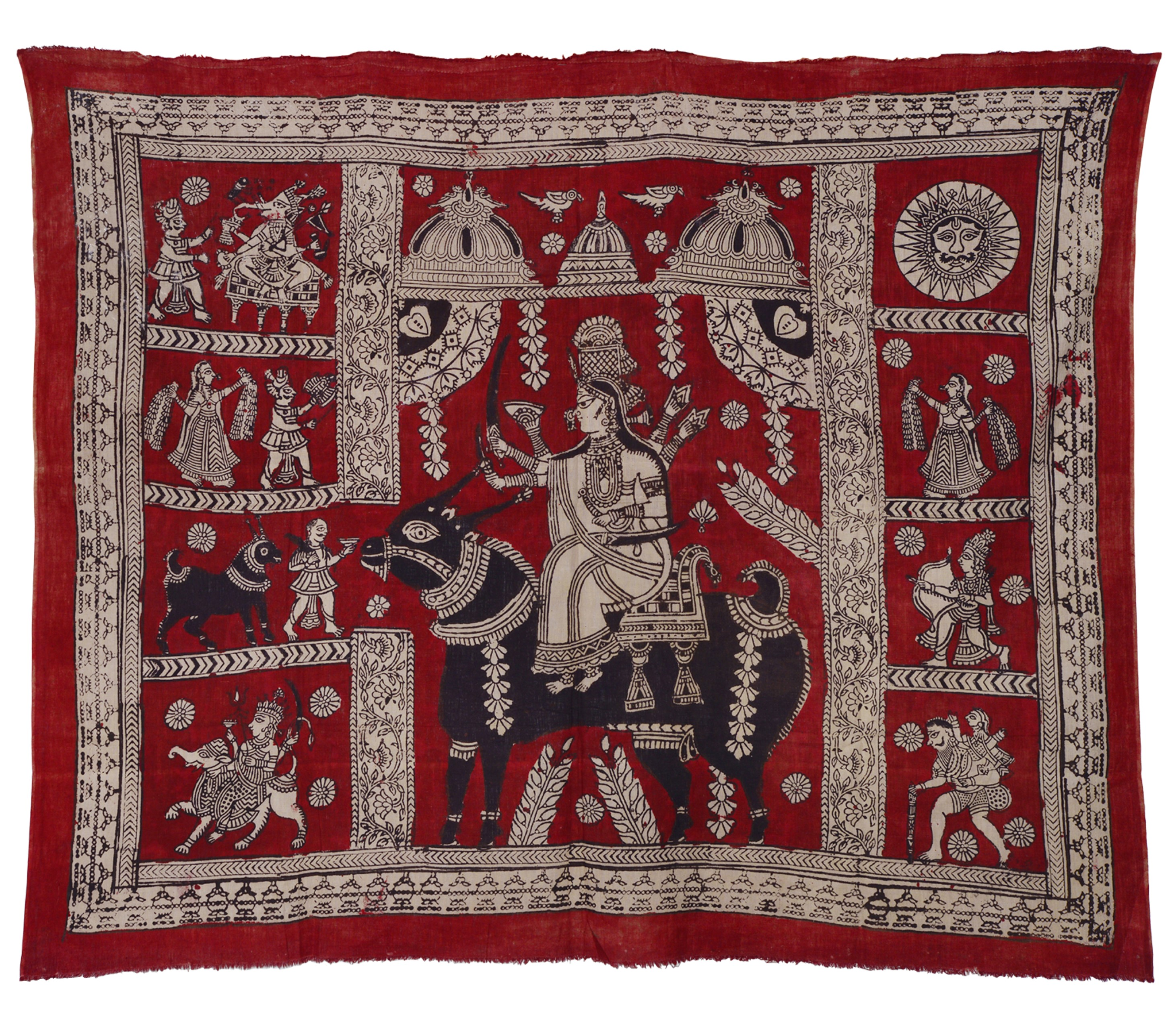 Mataji no chandarvo dedicated to Goddess Meladi, Block printed and painted on cloth, Lt. 127; Wd. 102 cm, Ahmedabad, Gujarat. Purchased by Archana Shastri in Ahmedabad in 1978. Photograph by Renu Dhiman.
