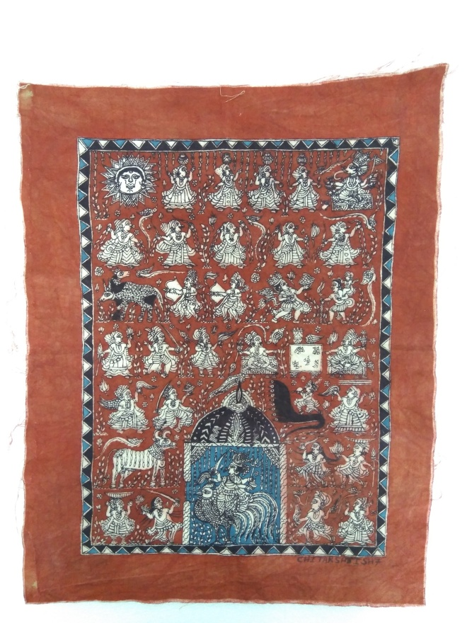 Wall hanging dedicated to Bahuchara Mata, Hand-painted (2019), Lt. 37; Wd. 48 cm, Artist: Satishbhai Chitara, Ahmedabad.