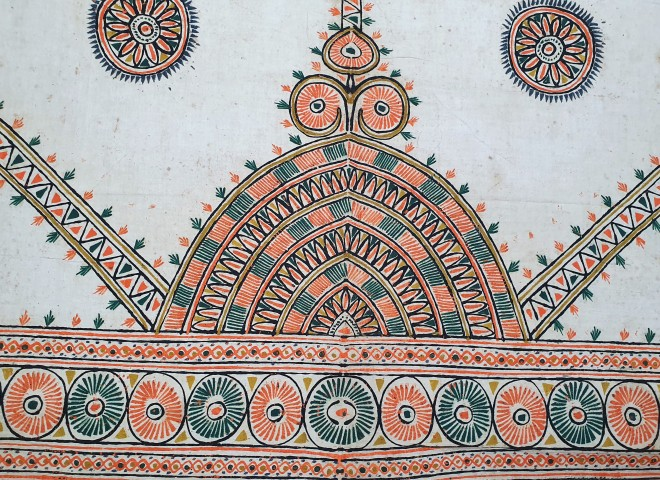 Ceremonial Wall Hanging (Detail), Ahir, 20th century, Kachchh (Gujarat), Rogan work, Lt. 165; Wd. 260 cm. Collection: Shri Madho Bhai and Arun Parmar (Kutch Arts).