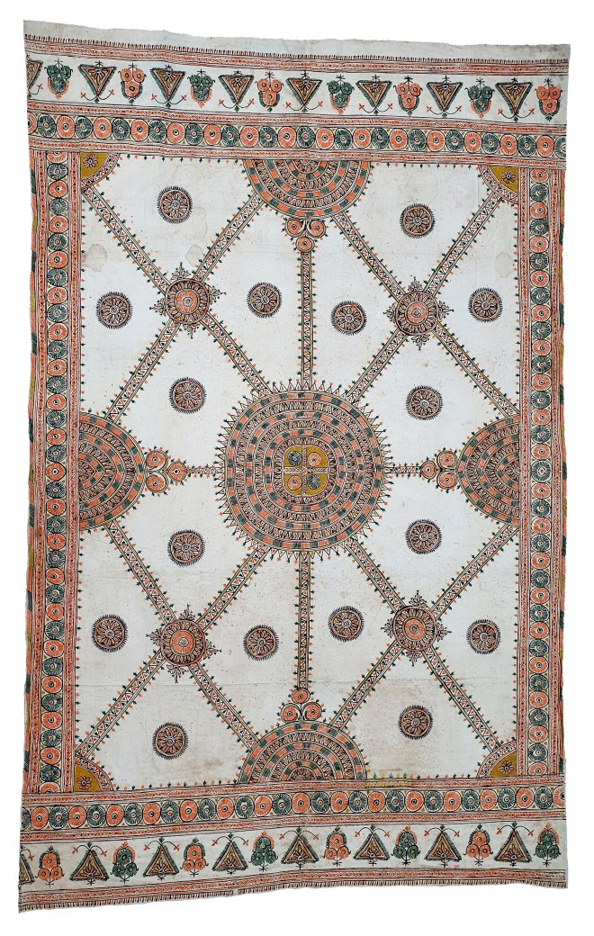 Ceremonial Wall Hanging, Ahir, 20th century, Kachchh (Gujarat), Rogan work, Lt. 165; Wd. 260 cm. Collection: Shri Madho Bhai and Arun Parmar (Kutch Arts).