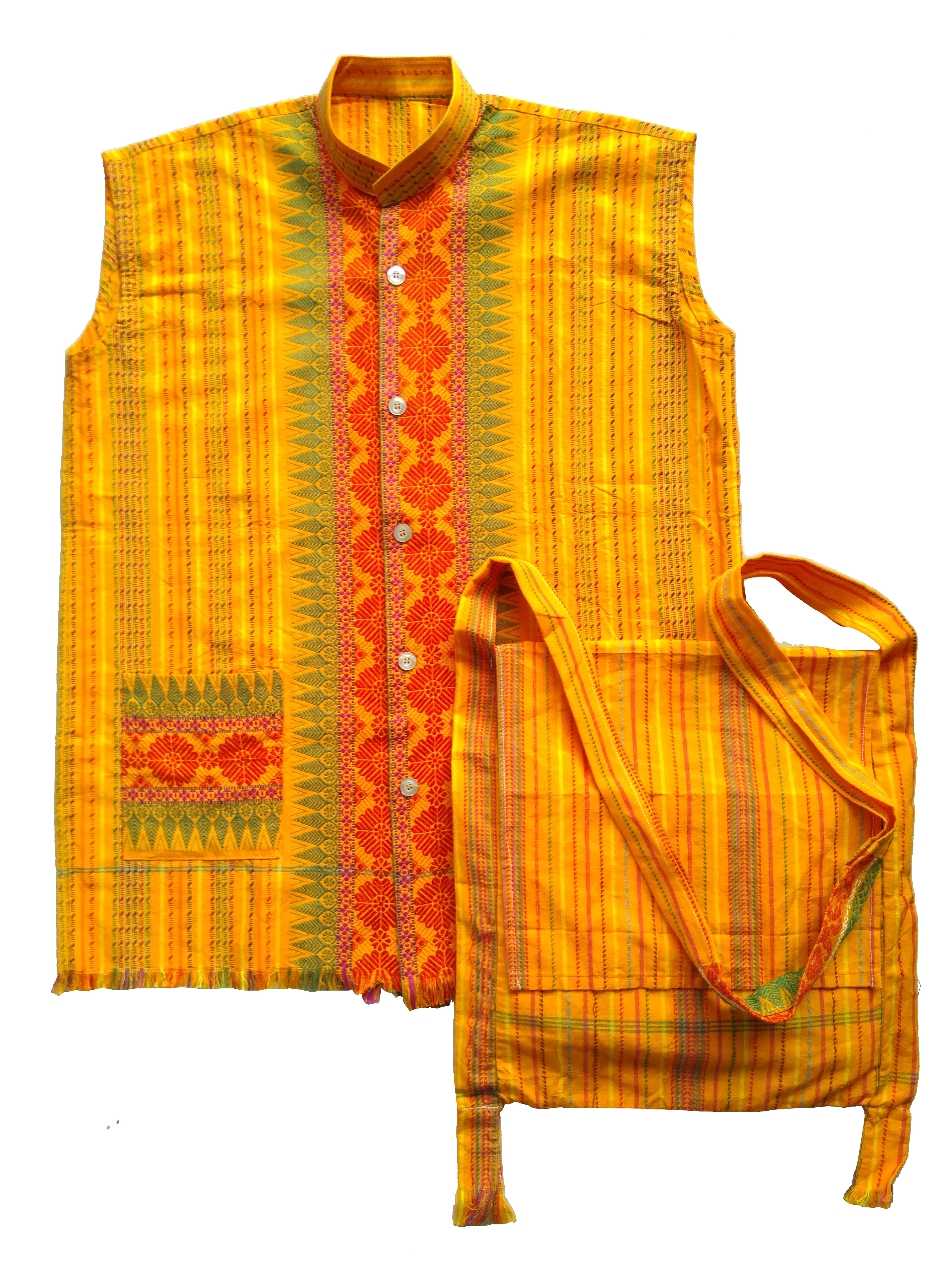 Waistcoat and bag stitched out of traditional textiles generally used for dokhona.