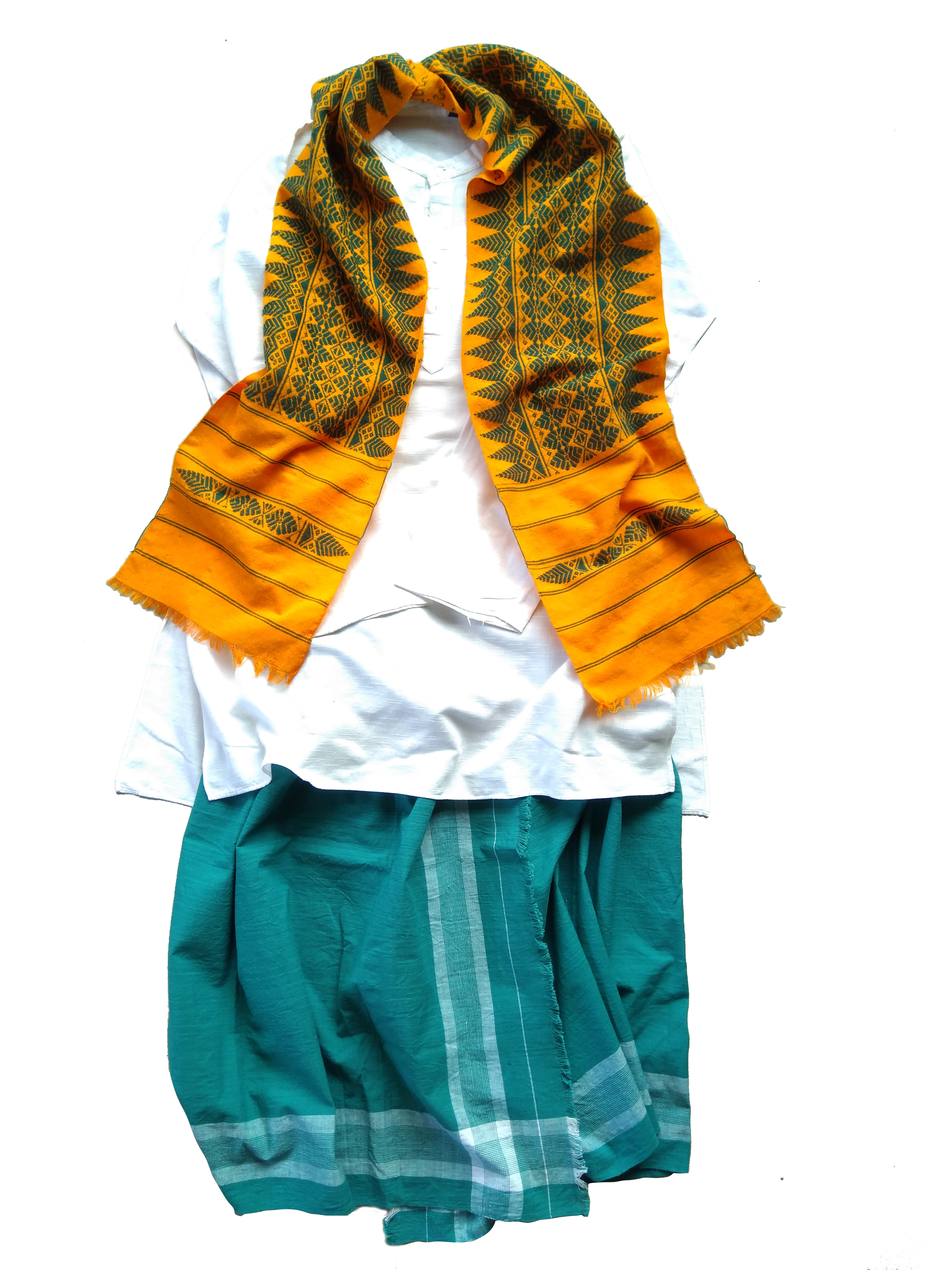 A flat representation of a Bodo man's ensemble comprising a white shirt, fali (lower drape) and a arnai (scarf). Traditionally for a formal occasion, a dhoti or angrachi is worn below.