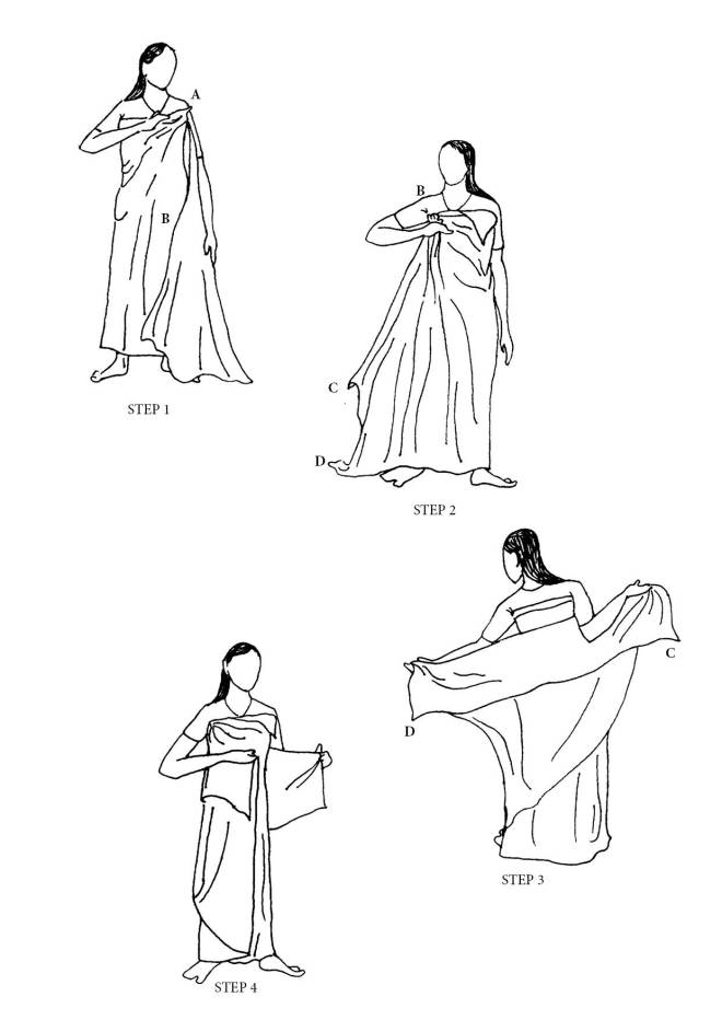 Steps of draping a dokhona.